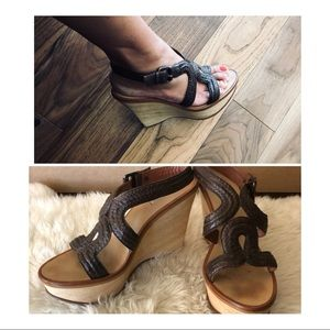 Max Studio Brown Leather Wedges size 7.5 M